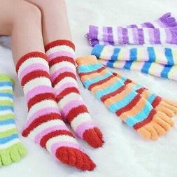 Colorful Women's Winter Warm Color Stripes Five Finger Toe F