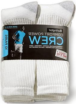 Burlington Comfort Power Men's 10 Pair White Crew Socks