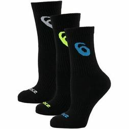 ASICS Contend Crew Socks, Black Assorted, Small