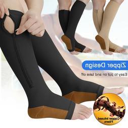 Copper Open Toe Compression Socks Zipper Leg Calf Ankle Supp