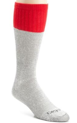 Dickies Men's 5 Pack Cotton Boot Crew Socks, Black Marl Red
