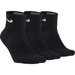 Nike Cotton Cushion Quarter Socks Black/White  SX4703-001 Si