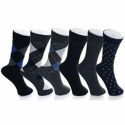Alpine Swiss 6 Pack Men's Cotton Dress Socks Mid Calf Argyle