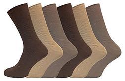 6 Pack Mens 100% Cotton Non Binding Loose Top Lightweight Ri