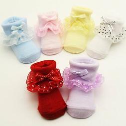 Cotton Non-slip Girl Kid Newborn Baby Socks Warm Cute Bowkno