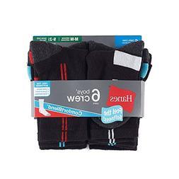 Hanes Boys' Big 12-Pairs Crew Socks, Black Medium