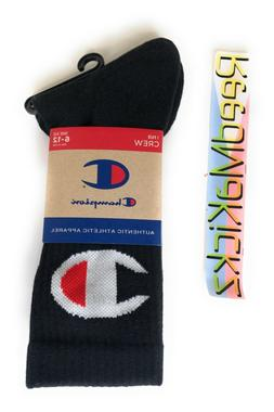 Champion Crew Socks Big C Logo Black 1 Pair Mens shoe size 6