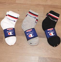 Champion crew socks mid calf for men women size 6-12 in blac