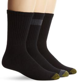 Gold Toe Men's Cushion Crew Sock, 3 Pack, Black, One Size