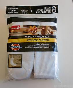 Dickies 6-Pair Cushion Crew Crew Socks White Sock Size:10-13