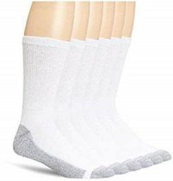 Hanes Cushion Crew Socks 6-PACK Black or White Sizes 6-12, 1