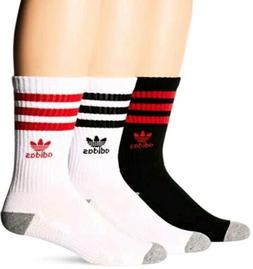 Adidas 3 Pair Pack Moisture Wicking Polyester Crew Socks Tre