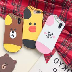 Cute 3D Socks Line Friends Silicone Case Cover For iPhone XS