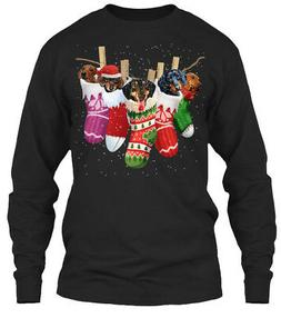 dachshund sock merry christmas gildan long sleeve