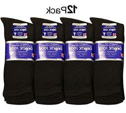 Diabetic Socks Men Unisex Size 13-15 Black 63-9040-12PAIRS