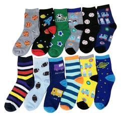 Different Touch 12 Pairs lots  Kids Boys Novelty Design Crew