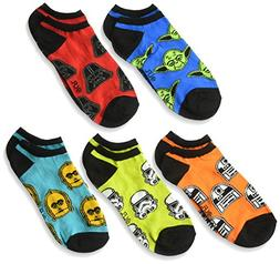 Disney Boys' Star Wars 5 Pack No Show Socks ,assorted bright