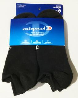 Champion Double Dry Performance Men's Black No-Show Socks 6-