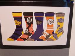 Dragonball Z Mens 5 Pair 5 Pack Casual Crew Socks Shoe Size