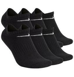 NEW Nike Dri Fit Cotton Black No Show Socks 6 Pairs pack Siz