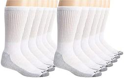 Dickies Men's Dri-Tech Comfort Crew Socks, White, 12 Pair