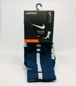 elite cushioned basketball crew sock navy blue
