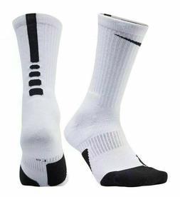 Nike Elite Cushioned Basketball Crew Socks White Black SX559