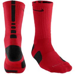 Nike Dri-FIT Elite Crew Basketball Socks Red/Black Size Larg