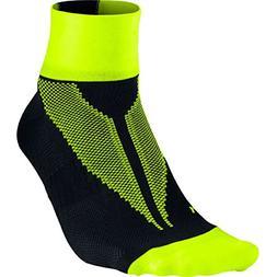 Nike Elite Hyper-Lite Quarter Running Socks - Black/Volt SX4