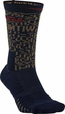 NIKE Elite Lebron Quick Basketball Navy Blue Crew Sock Small