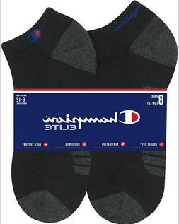 Champion Elite Mens Low Cut Socks Size 6-12 Black Double Dry