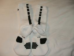 Nike Elite Mid mens/boys crew basketball socks size small wh