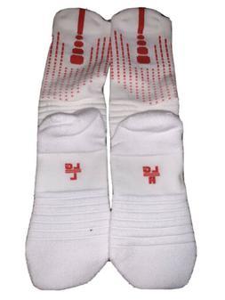 Nike Elite Socks L White/Red One Pair Mid Calf