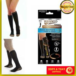 Copper Fit Energy Knee High Compression Socks, Black Large/X
