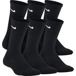 NIKE Kids' Unisex Everyday Cushion Crew Socks , Black/White,