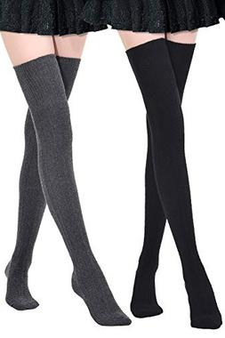 Kayhoma Extra Long Cotton Thigh High Socks Over the Knee Hig