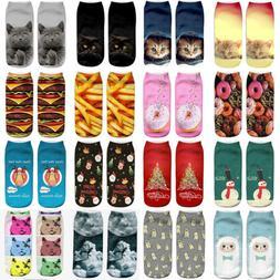 Fashion Unisex Animal Socks 3D Printed Cute Cat Xmas Low Cut
