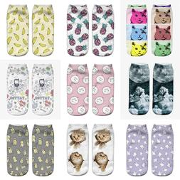 Fashion Unisex Animal Socks Cotton 3D Printed Animals Low Cu