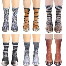 Fashion Unisex Women Men Adult Kids 3D Animal Print Sock Paw