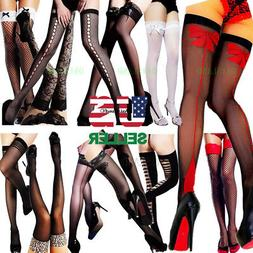 Stockings Thigh High Socks Stocking Sheer Lace Topped Fishne
