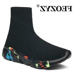 FEOZYZ Sneakers Women Men Knit Upper Breathable Sport Shoes