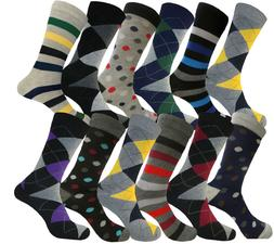 12 PAIRS FISRT QUALITY SOLID & ARGYLE SOCKS SIZE 10-13 COTTO
