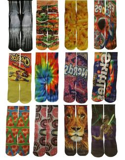 Fun Crazy Mid Crew Socks Mens Womens Adult Youth Fits Sizes