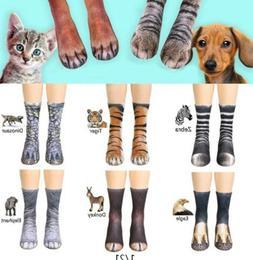 Funny Unisex Adult/Kids Elastic Sock Animal Paw Feet Crew 3D