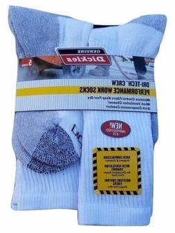 Dickies Genuine White Black Crew Work Socks Dri-Tech Mens 6-