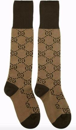 Gucci GG Over the Calf Socks Beige Brown Men Women