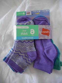 Girls Hanes Ankle Socks 6 Pair Size Medium 10.5-4 NEW  Purpl