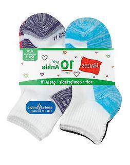 Hanes Girls' Cool Comfort Ankle Socks 10-Pack