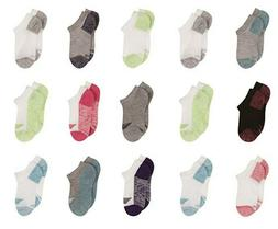 Hanes Girls' No Show Socks 15 Pairs Moisture Control & Breat