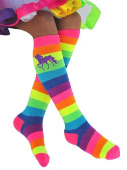Bubblegum Divas Girls Rainbow Knee High Socks Unicorns Toddl